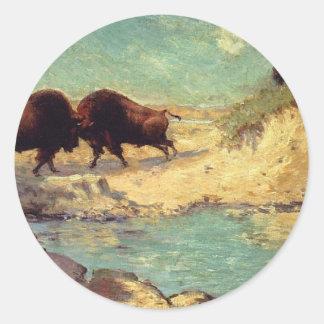Buffalo Hunt by Robert Julian Onderdonk Round Sticker