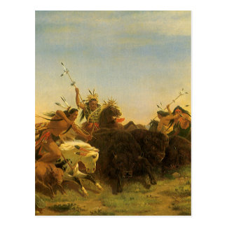 Buffalo Hunt by Wimar Vintage American West Art Postcard