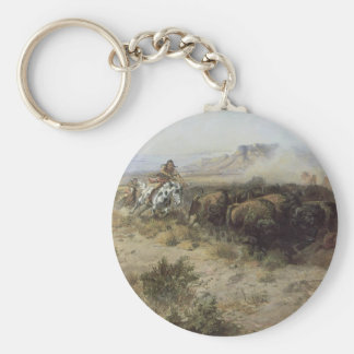 Buffalo Hunt No. 26 by CM Russell, Vintage Indians Key Ring