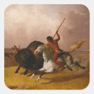 Buffalo Hunt on the Southwestern Plains - 1845 Square Sticker