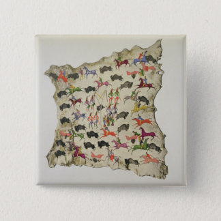 Buffalo hunt (pigment on elk-skin) 15 cm square badge