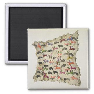 Buffalo hunt (pigment on elk-skin) magnet