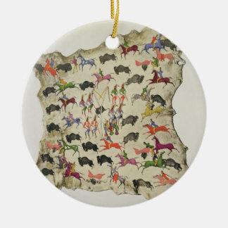 Buffalo hunt (pigment on elk-skin) round ceramic decoration