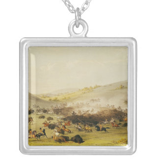 Buffalo Hunt, Surround, c.1832 Silver Plated Necklace