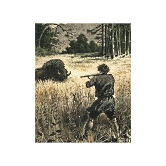 Buffalo Hunt Wild West Frontiersman Illustration Canvas Prints