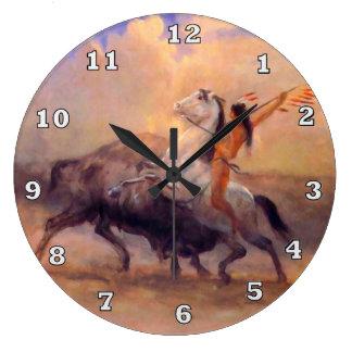 Buffalo Hunter Native American Clock