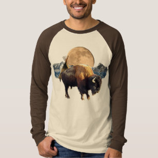 Buffalo, Moon & Tipi Wildlife Art T-Shirt