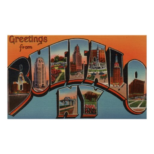 Buffalo, New York - Large Letter Scenes Posters