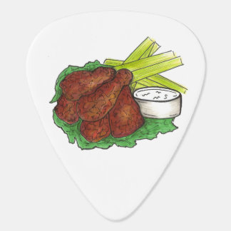 Buffalo New York Spicy BBQ Chicken Wings Foodie Guitar Pick