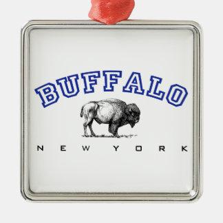 Buffalo, NY - Bison Silver-Colored Square Decoration