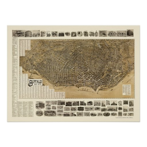 Buffalo, NY Panoramic Map - 1902 Poster