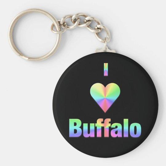 Buffalo -- Pastels Basic Round Button Key Ring