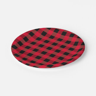 Buffalo plaid 7 inch paper plate