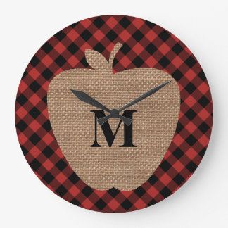 Buffalo Plaid and Burlap Monogram Apple Large Clock