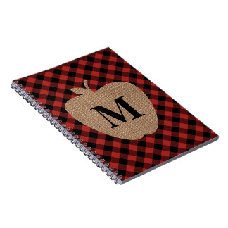 Buffalo Plaid and Burlap Monogram Apple Notebook