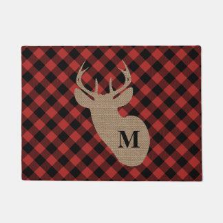 Buffalo Plaid and Burlap Monogram Deer Door Mat