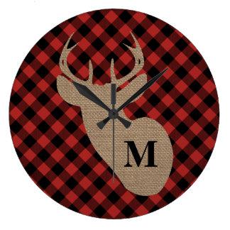 Buffalo Plaid and Burlap Monogram Deer Large Clock