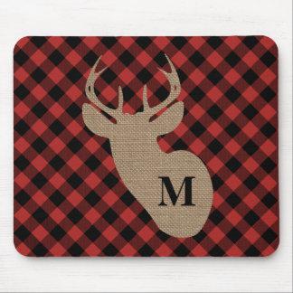 Buffalo Plaid and Burlap Monogram Deer Mouse Mat