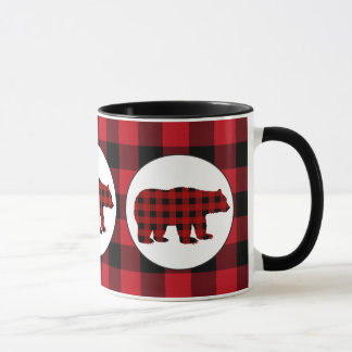 Buffalo plaid bear Country Kitchen mug