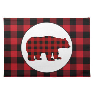 Buffalo plaid bear Country kitchen placemat
