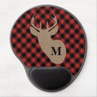 Buffalo Plaid Burlap Deer Head Gel Mouse Mat