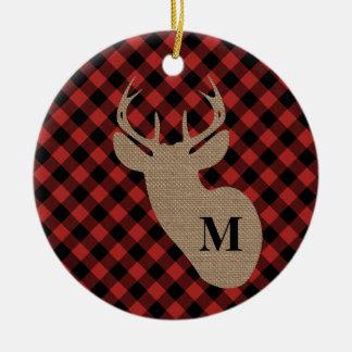 Buffalo Plaid Burlap Deer Head Monogram Christmas Ornament