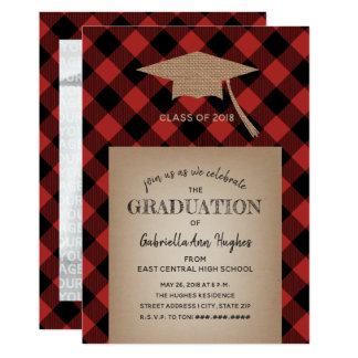 Buffalo Plaid Burlap Graduation Party Photo Card