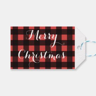 Buffalo plaid Christmas gift tags