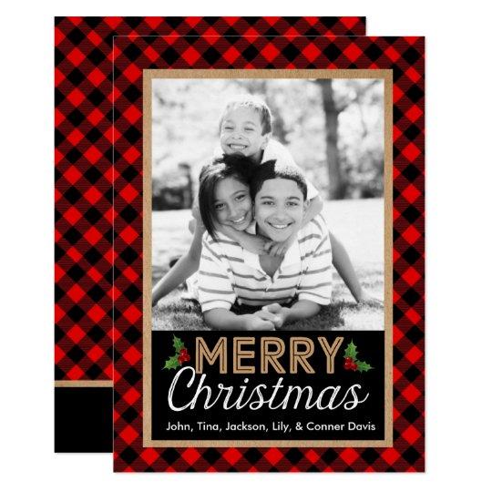 Buffalo Plaid Christmas Holly Photo Card