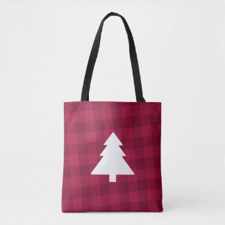 Buffalo Plaid Christmas Tree Tote