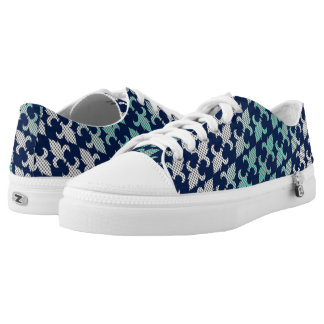Buffalo Plaid Damask Mint Green Midnight Blue Printed Shoes