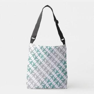 Buffalo Plaid Damask Mint Green Ombre Shade Fleur Crossbody Bag