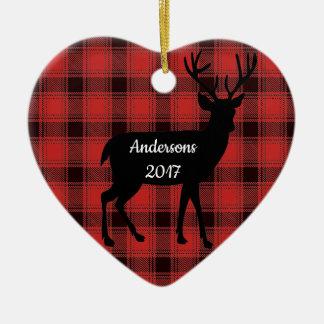 Buffalo Plaid Deer Design Ornament
