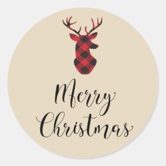 Buffalo Plaid Deer Merry Christmas Sticker