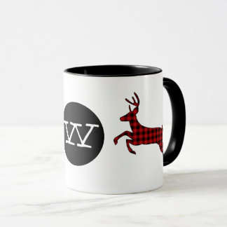 Buffalo Plaid Deer Monogrammed Mug