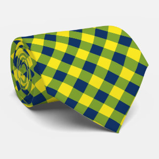 Buffalo Plaid / gingham pattern blue and green Tie