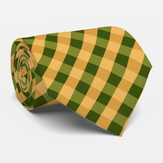 Buffalo Plaid / gingham pattern green Tie