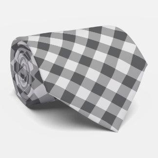 Buffalo Plaid / gingham pattern grey Tie