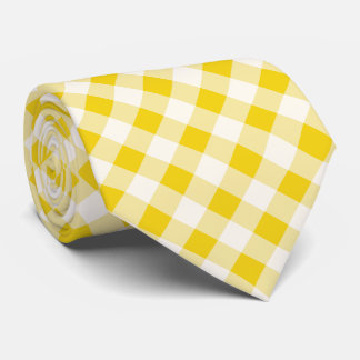 Buffalo Plaid / gingham pattern lemon yellow Tie