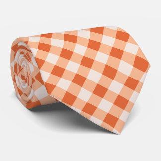 Buffalo Plaid / gingham pattern orange Tie