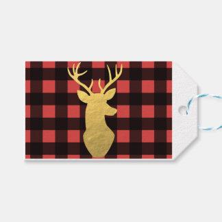 Buffalo plaid & gold foil gift tags
