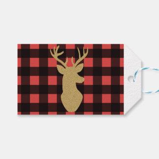 Buffalo plaid & gold glitter gift tags