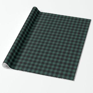 Buffalo Plaid Green Black | Rustic Lumberjack Wrapping Paper