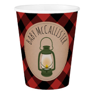 Buffalo Plaid Green Camping Lantern Baby Shower Paper Cup