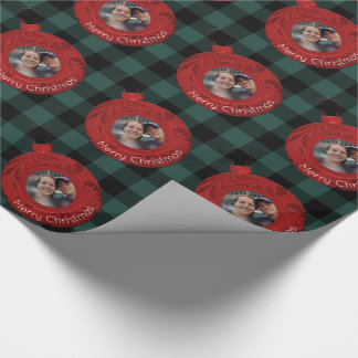 Buffalo Plaid Green Red Merry Christmas Photo Wrapping Paper