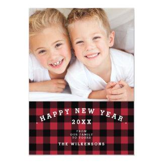 Buffalo Plaid Happy New Year Two Photo Card 13 Cm X 18 Cm Invitation Card