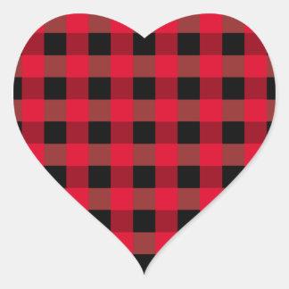 Buffalo plaid heart heart sticker