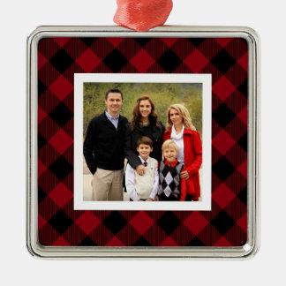 Buffalo Plaid Holiday Photo Christmas Ornament