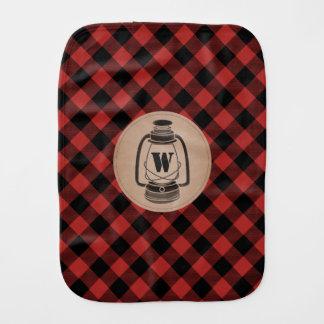 Buffalo Plaid Lantern Monogram Burp Cloth