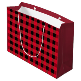 Buffalo plaid large gift bag